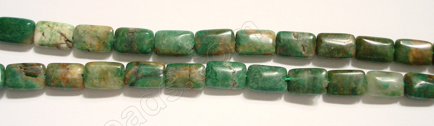 Africa Jade (w/ Brown)  - 8x12mm Puff Rectangle 16""