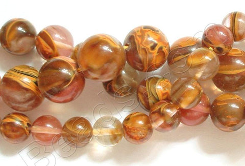 "Yellow Cherry Quartz  -  Smooth Round Beads 16""     12 mm"