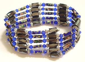 Magnetic Hematite Necklaces - Crystal & Cloisonné - Royal Blue