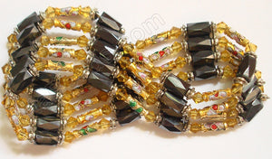 Magnetic Hematite Necklaces - Crystal & Cloisonné - Gold