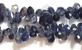 Iolite Dark  -  Faceted Teardrop Head Drill 14""