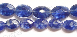 Faceted Oval  -  020 Dark Blue Rutilate Qtz  16""