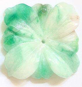 Candy Jade Pendant - Carved 4-petals Square Flower - Light Green
