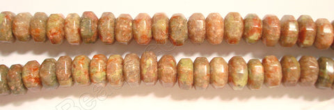 "Big Faceted Rondel  -  Pink Jasper  16""    8 x 13 mm"