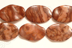 Chinese Red Zebra Jasper  - Wave Flat Ovals  16""