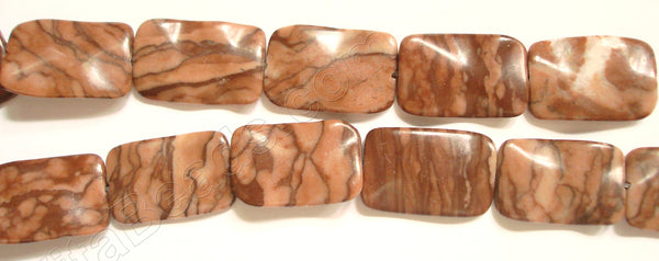 Chinese Red Zebra Jasper  -  Wave Flat Rectangle 16""