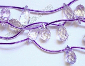 Cracked Crystal (Light Purple) - 8x16mm Faceted Teardrop 16""