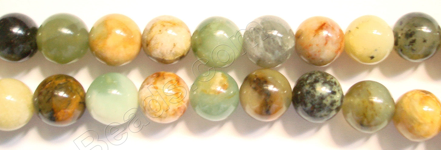 Fire New Jade  -  Smooth Round Beads  16""