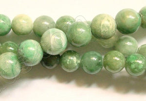 "Green Spot Stone - Smooth Round Beads  16""    8 mm"