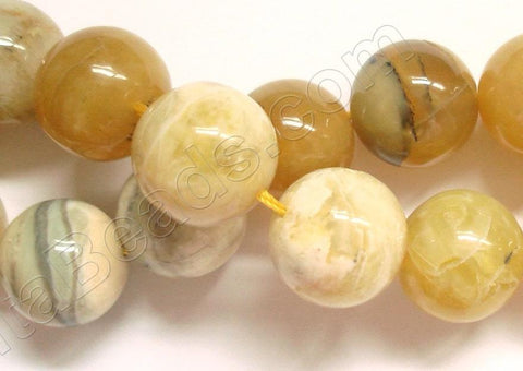 Yellow Opal  -  Big Smooth Round Beads  16""