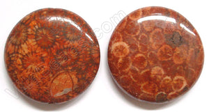 Pendant - Smooth Round Red Fossil Coral - Flower Dark