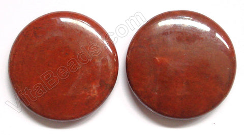 Pendant - Smooth Round Red Fossil Coral - Solid Dark