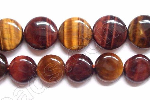 Mixed Red Yellow Tiger Eye  -  Puff Coins  16""