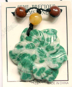 Carved Sunflower Pendant Ready to wear - Green Spot Quartz