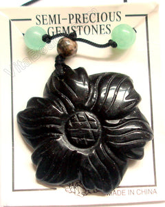 Carved Sunflower Pendant Ready to wear - Black Onyx