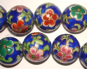 Porcelain Beads - Dark Blue Beads w/ Red Pink Flower - Smooth Round