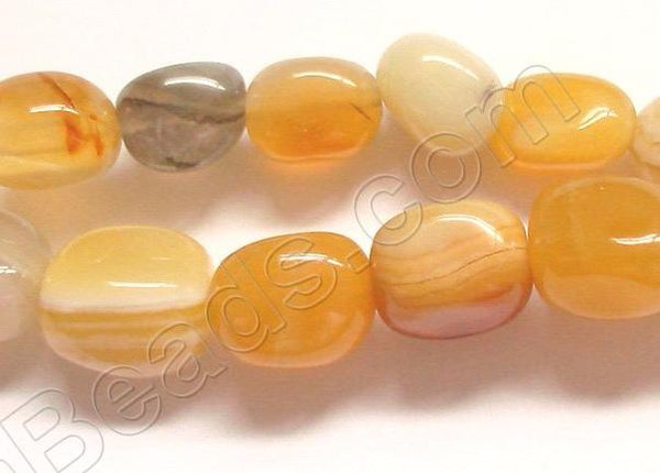 Yellow Botswana Agate -  Small Smooth Nuggets  16""