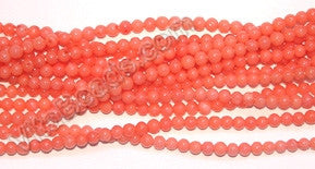 Peach Coral AAA  -  Small Smooth Round Beads 16""