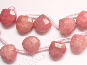 Rhodonite  -  13mm Faceted Flat Briolette 16""