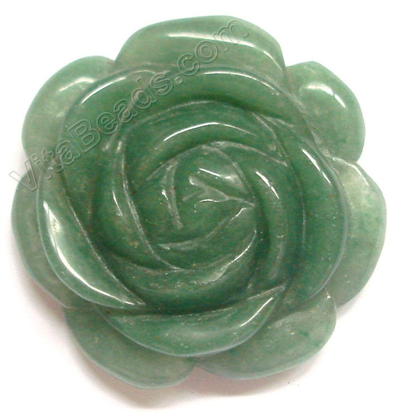 Carved Flower Pendent - Green Aventurine - Dark