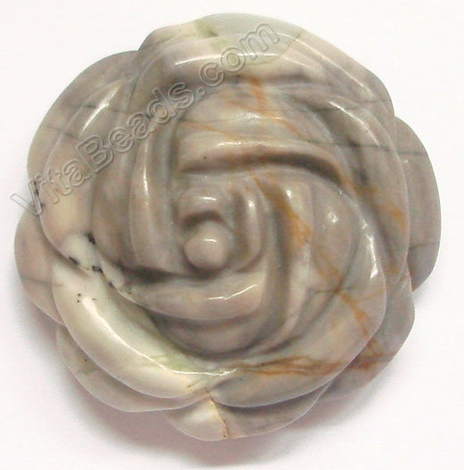 Carved Flower Pendent - Picasso Jasper - Light