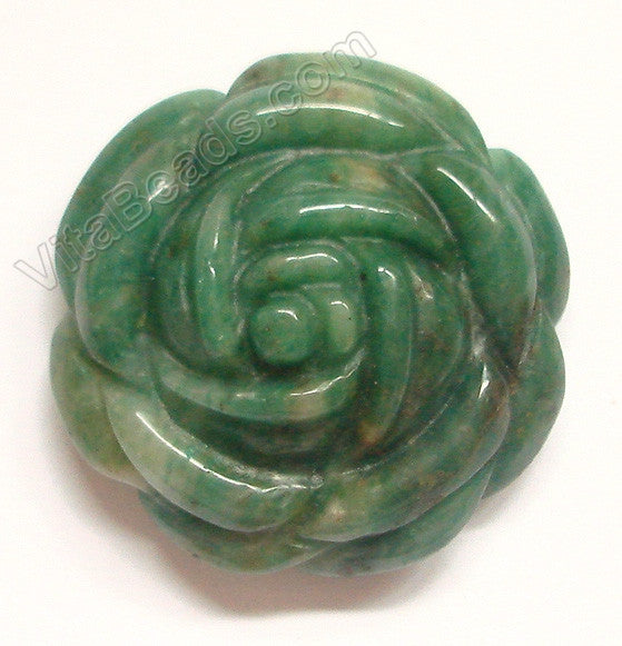 Africa Jade - 35mm Carved Rose Flower Pendent Horizontally drilled on the top at back