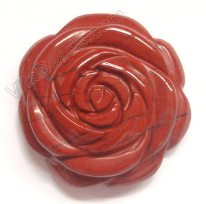 Carved Flower Pendent - Red Jasper