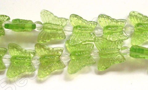 Peridot Green Crystal Qtz  -  Carved Butterfly  7.5""