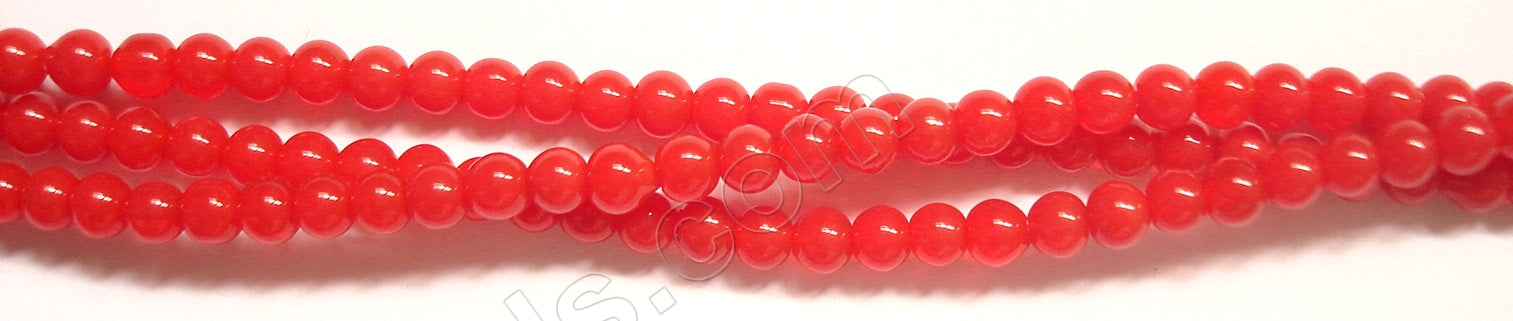 "Coral Red Crystal Quartz  -  Smooth Round   14""      4 mm"