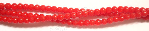 "Coral Red Quartz  -  Smooth Round   14""      4 mm"