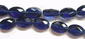 Dark Royal Blue Crystal Qtz  -  Faceted Oval  14""