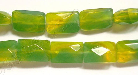 Yellow &. Green Qtz  -  Faceted Rectangles  14""