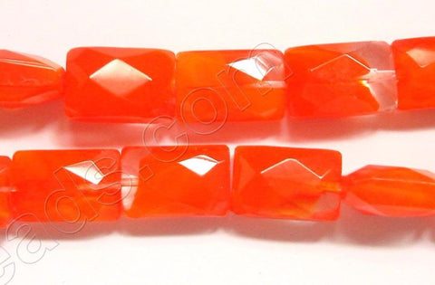 Orange Red &. Clear Crystal Qtz  -  Faceted Rectangles  14""