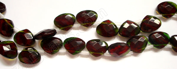 Peridot and Red Crystal Quartz  -  Faceted Flat Briolette  8""
