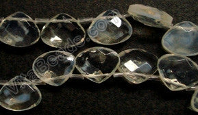 Frosted Ice Crystal Quartz  -  Faceted Flat Briolette  8""