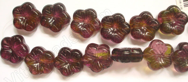"Carved 5-petal Flower Strand  -  Red Fluorite w Green Crystal Qtz 10""    18 x 18 mm"