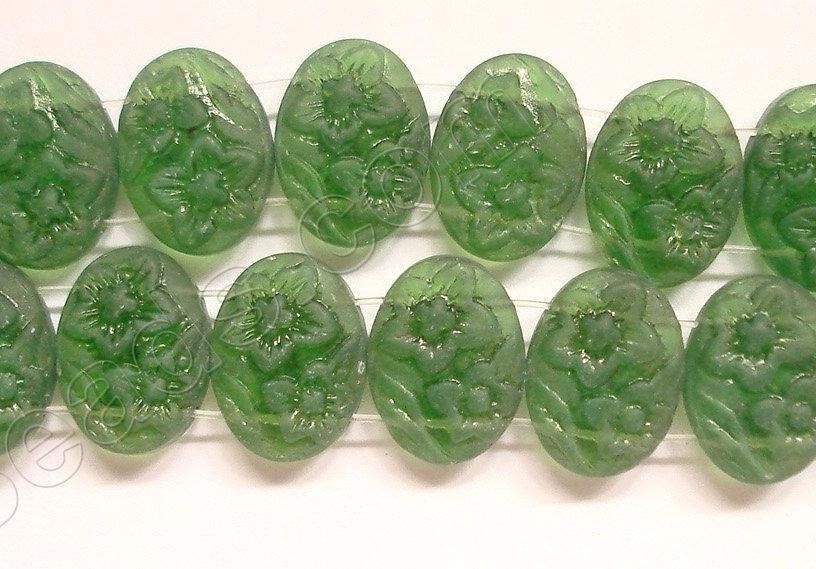 Frosted Green Crystal Qtz  -  Double Drilled Carved Flower Puff Oval 9""