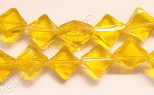 Dark Yellow Crystal Qtz  -  Di-drilled Puff Square  8.5""