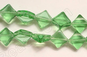 Apple Green Crystal Qtz  -  Di-drilled Puff Square  8.5""