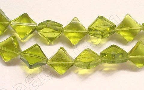 Olive Green Crystal Qtz  -  Di-drilled Puff Square  8.5""