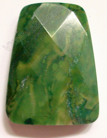 Africa Jade Pendant - 30x40mm Faceted Ladder Pendant