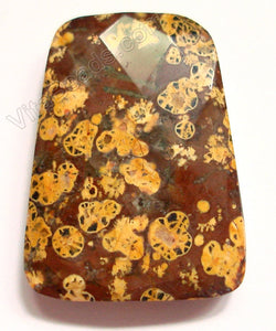 Leopard Jasper Yellow - 30x40mm Faceted Ladder Pendant