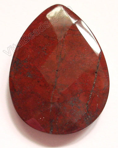 Poppy Jasper - Faceted Pendant - Briolette
