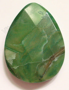 Africa Jade Pendant - 30x40mm Faceted Briolette