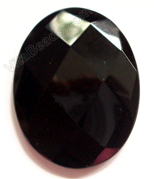 Faceted Pendant - Oval - Black Onyx