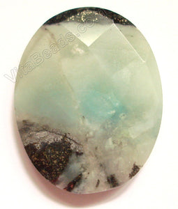 Black Golden Amazonite Light - Faceted Oval Pendant