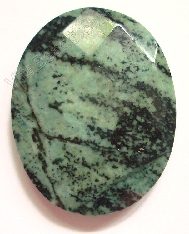 Green Zebra Jasper - Faceted Oval Pendant