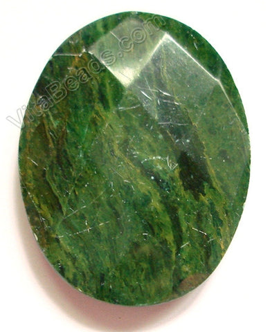 Africa Jade Pendant - 35x45mm Faceted Oval Top Horizontally Drilled