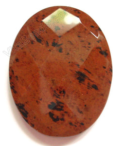 Mahogany Obsidian Light - Faceted Oval Pendant