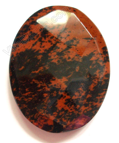 Mahogany Obsidian Dark - Faceted Oval Pendant